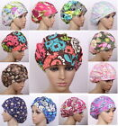 Womens Flower Pattern Bouffant Medical Surgical Surgery Hat Scrub Cap Work Hat