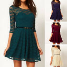 Fashion Women Lace Short Dress 3/4 Sleeve Prom Evening Party Cocktail with Belt