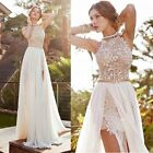 Women Lace Long Chiffon Bridesmaid Evening Party Cocktail Dress Gown Prom Dress