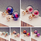 1Pair Fashion Women Lady Elegant Flower Rhinestone Glass Ear Stud Earrings image