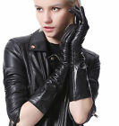 women fashion mid wrist ruffle style top genuine ethiopia leather gloves black