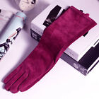 "40cm(15.75"") long winter fashion genuine real suede leather gloves  burgundy"