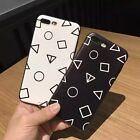 Simple black and white Geometric shapes phone back case for iPhone 6 6s 7 7plus