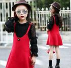 New Fashion Kids Girls 2 Pieces Lace Skirt+Dress 3-13Years Red Suspender dress