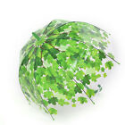 Stick Hook Handle Clear Transparent Dome Autumn Maple Leaf Rain Umbrella LAUS