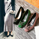Elegant Womens Vouge Square toes Faux Suede Mid chunky heels Court Boat shoes Sz