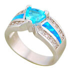OR874 Black Friday Blue Zircon Blue Fire Opal Silver Fashion Jewely Rings