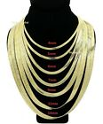 """Mens Herringbone Chain 14K Gold Finish 4mm to 14mm 8"""" 18"""" 20"""" 24"""" 30"""" Necklace"""