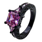1Pc Black Ring For Women Wedding Band Luxury Engagement Party Ring