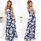 Hot Women Floral Sleeveless Party Long Dress Printed Halter A-Line Dresses S-XL