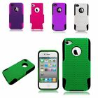TPU Rubber Hard PC Candy Skin Mesh Case Cover For Apple iPhone 4 / 4S