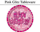 Pink Glitz Happy Birthday Tableware - Plates, Napkins, Cups & Tablecover