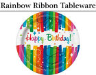 Rainbow Ribbons Tableware - Plates, Napkins, Cups & Tablecover