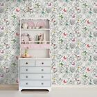 Holden Decor Primrose White Multi Butterflies Floral Wallpaper 98830