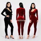 New women long sleeve velvet bodycon party cocktail club long jumpsuit romper