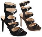 WOMENS HIGH STILETTO HEEL GLADIATOR STRAPPY BUCKLE CUT OUT SANDALS SHOES SIZE