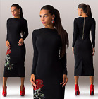 Embroidery Women's Bodycon Cocktail Party Evening Long Sleeve Ladies Midi Dress