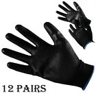 12 PAIRS 13G BLACK NYLON PU SMOOTH RUBBER WORK GLOVES BUILDER GARDENING SAFETY