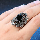 Vintage Women Black Crystal Wedding Engagement Silver Plated Flower Ring Band