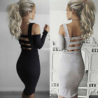 New off shoulder long sleeve bandage party evening cocktail slim mid-dress sexy