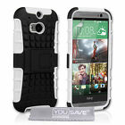 Yousave Accessories Hard Hybrid Tough Grip Combo Phone Case Cover HTC One (M8)