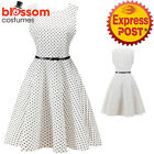 K327 White Polka Dots Retro Rockabilly Vintage Party 50s Swing Dress Evening