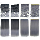 New Fashion Black Gray Long Straight Body Wavy Hairpiece Hair Weft Extensions