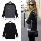 CH New Women Ladies Long Sleeve Loose Casual Chiffon Shirt Tops Blouse T-Shirt