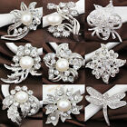 Silver Bouquet Rhinestone Crystal Flower Brooch Pin Charm Wedding Jewelry Gifts