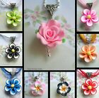 PRETTY FLOWER PENDANT NECKLACE NECKLACE POLYMER CLAY PINK BLACK RED BLUE ROSE