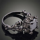 Skull Jewelry Black Sapphire Black Gold Filled Women Wedding Band Ring Punk