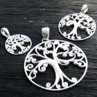 925 Sterling Silver Fancy Tree of Life Round Pendant (Choose Size)