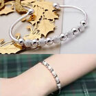 Women Girl Jewelry 925 Sterling Silver Plated Beads String Chain Bracelet Bangle