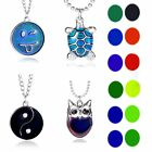 Owl Emoji Sensitive Thermo Mood Color Change Pendant Necklace Women Jewelry Gift