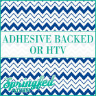 Royal Blue & White Chevron Stripes Pattern #5 Adhesive Vinyl or HTV for Crafts