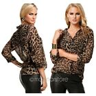 Women Ladies Leopard Print Long Sleeve Chiffon Shirt Slim Casual Blouses Perfect