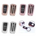 For Buick Remote Car Key Cover Bling Crystal Aluminum Case Genuine Leather Chain