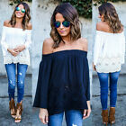 Fashion Women Off Shoulder Tops Long Sleeve Shirt Casual Blouse Loose T-shirt US