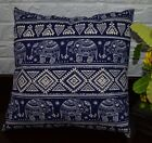 AL257a Royal Blue Beige Elephant Cotton Canvas Pillow/Cushion Cover Custom Size