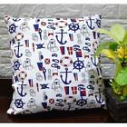 AL262a Royal Blue Red Black On White Cotton Canvas Pillow/Cushion Cover Custom