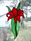 Handmade Stained Glass Flower, DAYLILY, Red SUNCATCHER (DLY42)