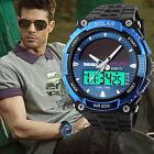 Men's Sport Analog Dgitial Watch Solar Power Chronograph LCD Silicone Waterproof