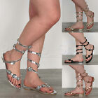 WOMENS LADIES FLAT ANKLE WRAP AROUND TOE POST FLOWER GLADIATOR SUMMER SANDALS