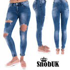 Women Ladies Trouser Destroyed Faded Ripped Skinny Fitted Distressed Denim Jeans
