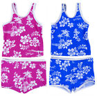 Girls Tankini Swim Suit Set Swimming Costume Two Piece Hawaiian Theme Pink Blue