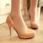 Party prom women's stilettos pumps slip on crystal round toe high heel shoes