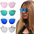 Damen Aviator Sonnenbrille Cat Eye Blogger Luxus Promi Blau Grün Rosa Gold Pilot