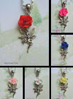 ROSE FAIRY CHARM NECKLACE PENDANT TIBETAN SILVER POLYMER CLAY FLOWER