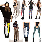 Ladies Womens Printed Skinny Full Length Stretchy Trouser Leggings Yoga Pants
