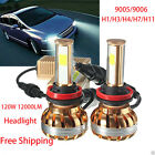 2PC 120W 12000LM COB H4 H1 H3 H7 H11 LED Car Headlight Kit White Beam 6000K Bulb